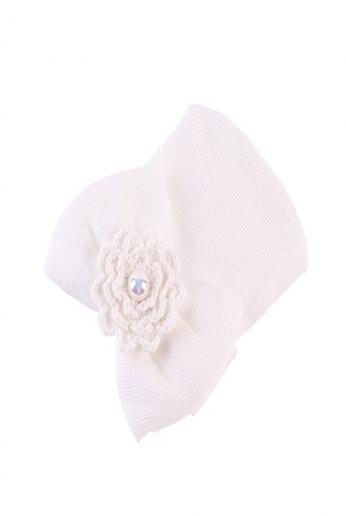 Newborn Hospital Hat Infant Baby Hat Cap with Big Bow Soft Cute Knot Nursery Beanie (White