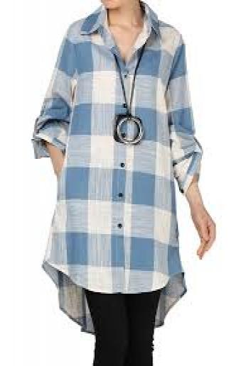 Mordenmiss Women's Linen Plaid Blouses Loose Button-Down Shirts Roll-up Sleeve Tunic Tops