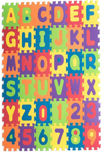 Teeny Toyz, Large Foam Puzzle Play Mat, 36 Tiles, Entire Alphabet + Numbers 0-9! Pop-Out Numbers/Letters on Every Tile