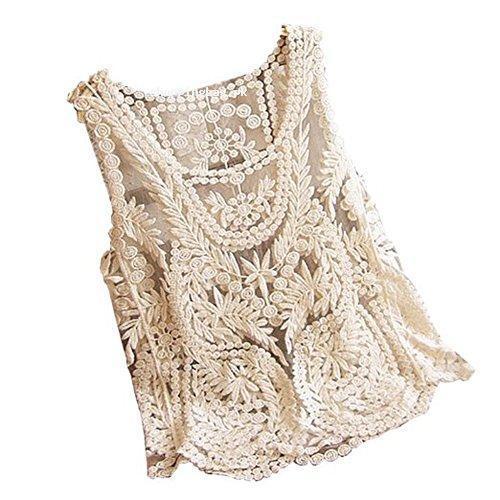 VonFon Women Sleeveless Crochet Knit Tank Blouse Apricot Yellow Medium