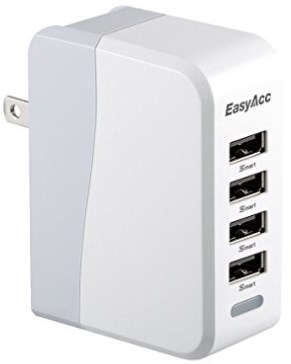 EasyAcc 20W 4A 4-Port USB Wall Charger with Folding Plug and Smart Technology Travel Charger