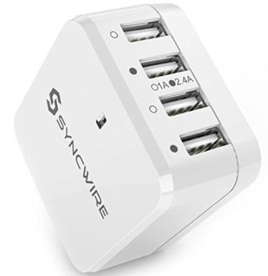 USB Wall Charger Plug Syncwire -34W 4-Port Fast Charger with US UK EU Travel Adapter