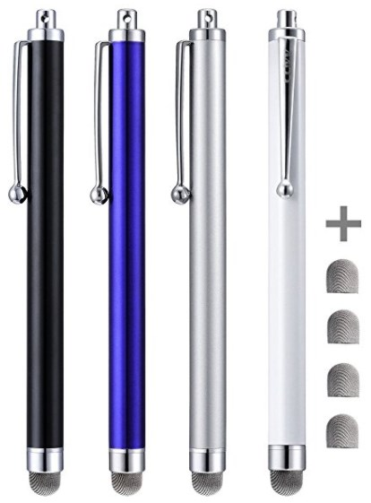 Stylus, CCIVV 4 Pcs 5.0 Inches Hybrid Mesh Fiber Tip Stylus Pens for Touch Screen Devices