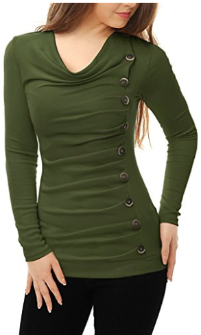 Allegra K Women's Cowl Neck Long Sleeves Buttons Decor Ruched Christmas Tops