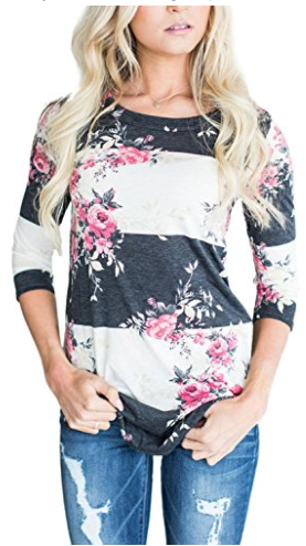 Annflat Women's 3 4 Sleeve Floral Print T-Shirts Casual Striped Blouse Top