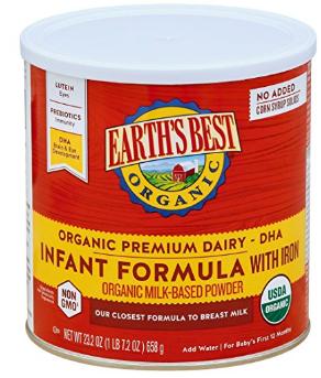 Earth's Best Organic Infant Powder Formula with Iron, Omega-3 DHA & Omega-6
