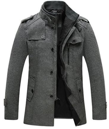 Wantdo Men's Pea Coat Stand Collar Windproof Jacket Overcoat
