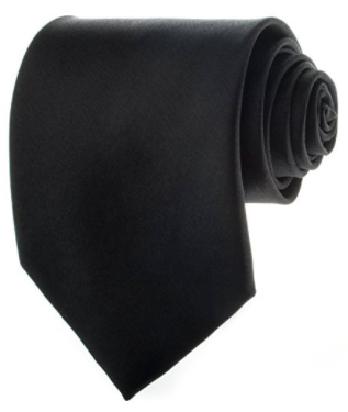 Black New Mens Solid Color Black Ties
