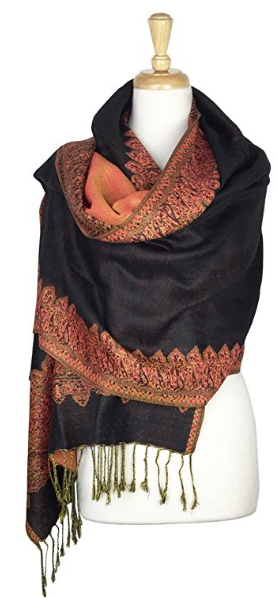 Paskmlna Border Pattern Double Layered Reversible Woven Pashmina Shawl Scarf Wrap Stole