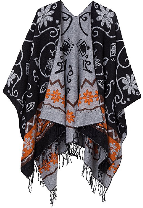 Women's Fashionable Retro Style Vintage Pattern Tassel Poncho Shawl Cape