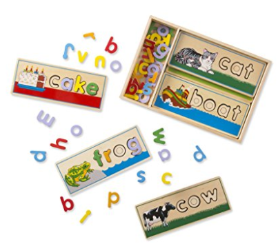 Melissa & Doug See & Spell Wooden Educational Toy With 8 Double-Sided Spelling Boards and 50+ Letters