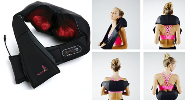 Naturalico Shiatsu Massager - Kneading Massage Therapy for Foot, Back, Neck and Shoulder Pain - Relieves Sore Muscles