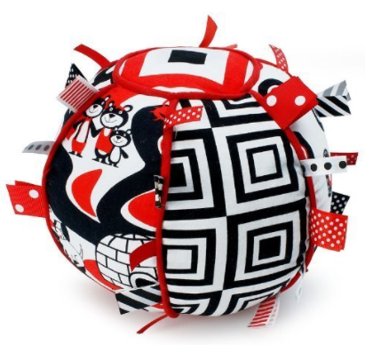 Ribbon Tag Ball - Black, White & Red