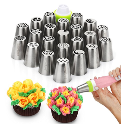 Russian Piping Tips - Cake Decorating Supplies - 39 Baking Supplies Set - 23 Icing Nozzles