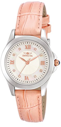 Invicta Women's 12544 Analog Display Angel Diamond-Accented Pink Leather Watch with Interchangeable Straps