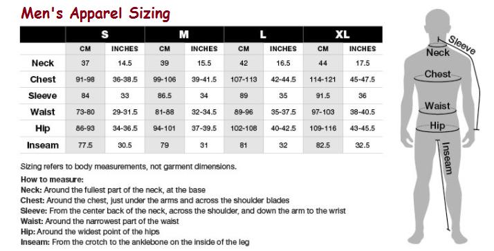 men pants size chart