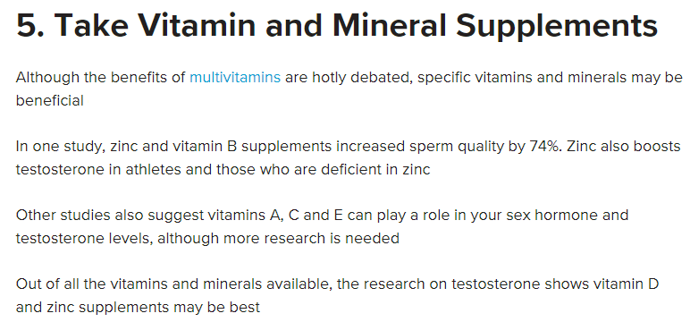 Take Vitamin and Mineral Supplements