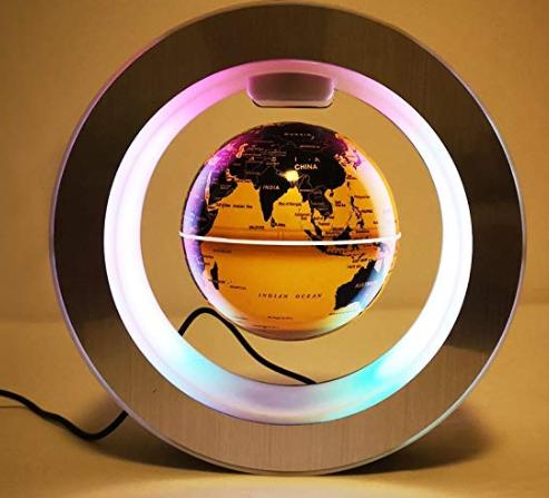 Floating Globe with Colored LED Lights C Shape Anti Gravity Magnetic Levitation Rotating World Map