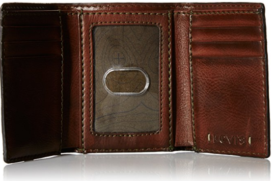 Levi's Men Trifold Wallet - Sleek and Slim Includes ID Window and Credit Card Holder