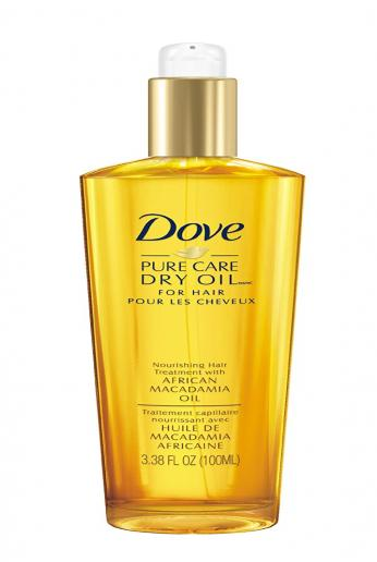Dove Dry Oil, Pure Care Nourishing Hair Treatment with African Macadamia Oil  3.38 fl oz/100 ml.