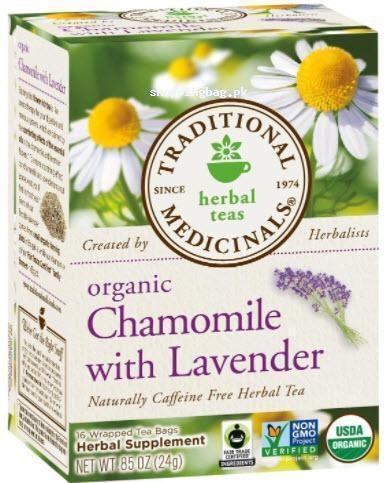 Organic Chamomile Caffeine Free Herbal Tea with Lavender by Traditional Medicinals , 16 Count