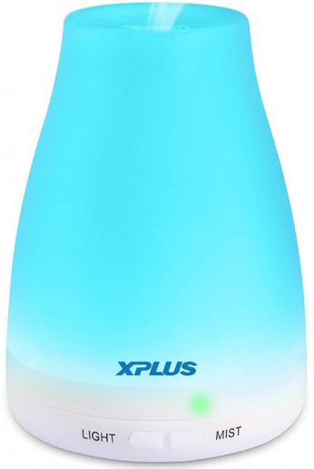 XPLUS 120ML Essential Oil Diffuser Portable Ultrasonic Aromatherapy Diffusers with Multi-Changeable Colored LED Lights Waterless Auto Shut-Off Adjustable Mist Mode