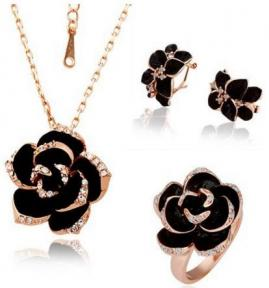 Black Flower Earring Necklace Ring Jewelry Set