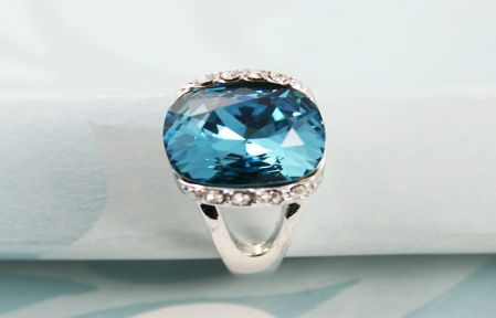 Blue Square Crystal Rings