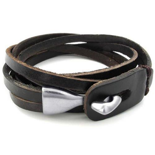 konov mens leather cuff bangle bracelet online shopping in pakistan - Tecap Color