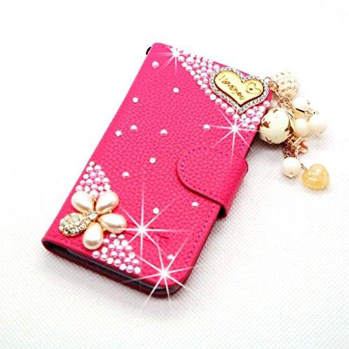 newest 0ed24 5cd53 Rose Heart Leather Glitter Rhinestone Diamond Case Cover For Samsung ...