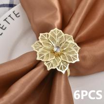 6 Pieces Napkin rings with hollow flowers - Gold