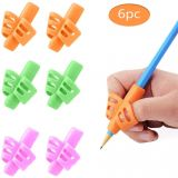 Pencil Grip, Children's Pen Writing Assistant Grip Set Handwritten Posture Silicon Correction Training Tool for Children Preschool Children, Hollow Ventilation Design (6 Pack)