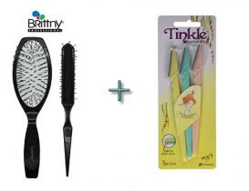 Tinkle Pack of 3 Eyebrow Shapers and Brittny Wig Brush Combo