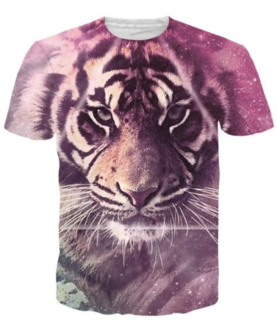 Round Neck 3D Tiger T-Shirt For Men