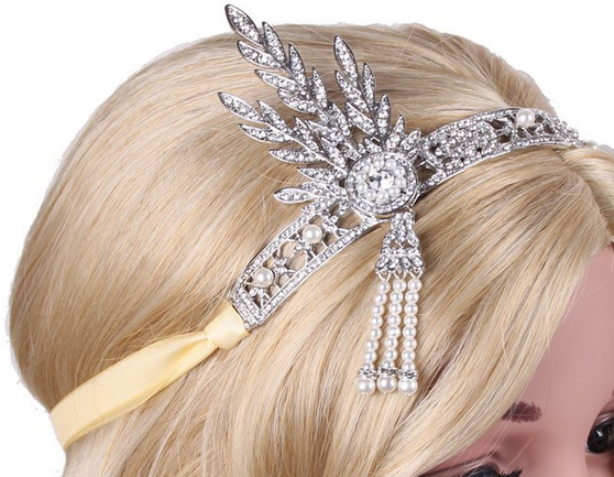 Babeyond® Bling Silver-Tone The Great Gatsby Inspired Leaf Simulated Pearl Headband Hair Tiara