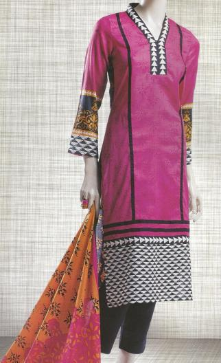 Shocking Pink Women lawn dress with lawn