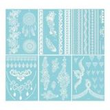 White Henna Temporary Tattoo Stickers (Flower)