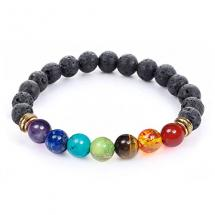 7 Chakra Mala Meditation Healing Bracelet with Real Stones