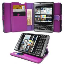 Profer Blackberry Passport Silver Leather Flip Cover Card