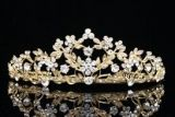 Floral Bridal Gold Plated Crown by Venus Jewelry