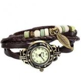 JewelryWe Women Weave Leather Bracelet Wrist Watch
