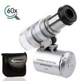 KINGMAS Mini Pocket Magnifier 60x Microscope with LED UV Light