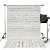 Kooer Ivory White Brick Wooden Floor Photography Backgrounds of Size 5x7ft