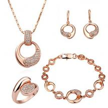 LEKANI Women 18K Rose Gold Palted Necklace, Earrings, Ring and Bracelet Wedding Jewelry Sets