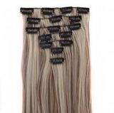 MapofBeauty 23 Inch Straight Synthetic Hair Extensions Light Brown Mixed With Light Blonde