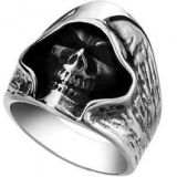 Vintage Biker Death Grim Skull Punk Men Ring Silver Black
