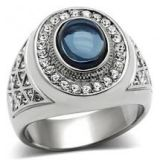 Men Stainless Steel Dark Blue Oval Ring