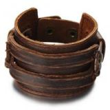Metallic Brown Leather Wristband Bracelet