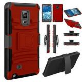 Samsung Galaxy Note Edge Shockproof Holster Case Red Black