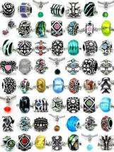Pro Jewelry Pack of Assorted Silver Charms, Crystal Bead Charms, Glass Beads and Spacers for Snake Chain Charm Bracelets
